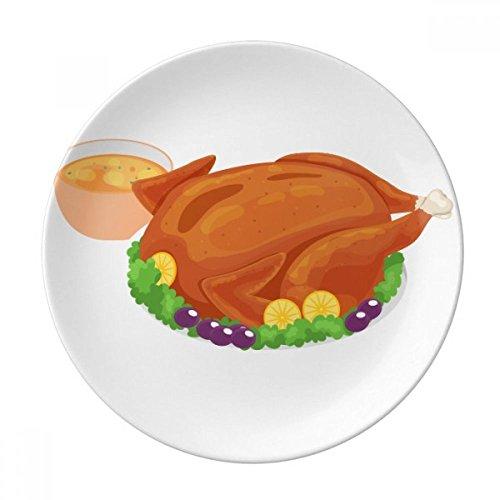 Happy Thanksgiving Day Turkey Pattern Dessert Plate Decorative Porcelain 8 inch Dinner Home