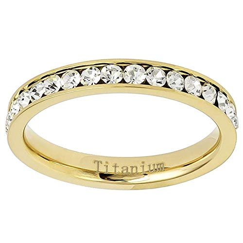 (Jewelry Depot Yellow Gold Plated Polished Channel Set Cubic Zirconia CZ 3mm Eternity Titanium Wedding Band - Size 6 )