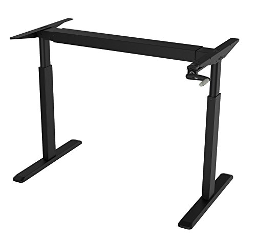 Canary Products ABC256BK Height Adjustable Crank Desk Frame, Tabletop Not Included, 45 Inch Max, Black