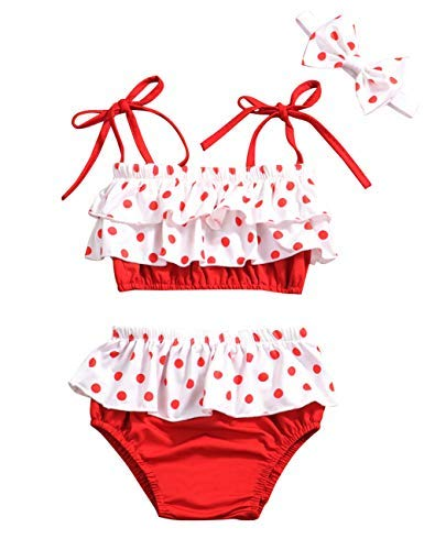 Baby Girl Swimsuit Ruffle Red Dot Top and Bikinis Skirt, used for sale  Delivered anywhere in USA