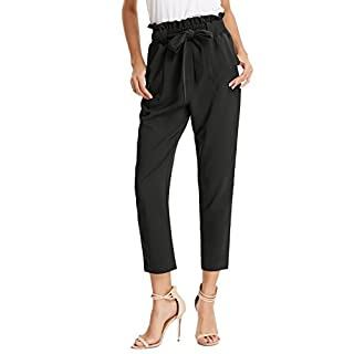 Women's Simple Solid Ruffle Tie Waist Pants with Pockets Black XL