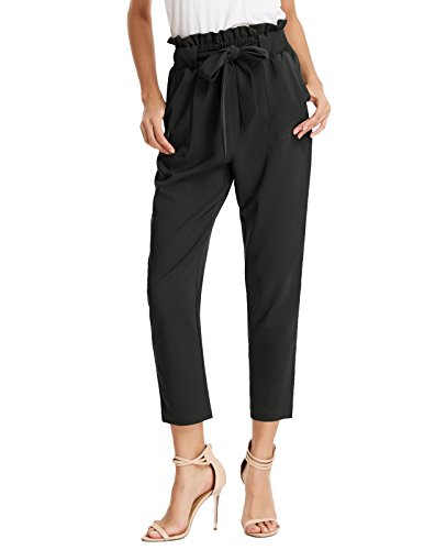 Tie Hipster Pant - Women's Simple Solid Ruffle Tie Waist Pants with Pockets XL AF1011-1 Black