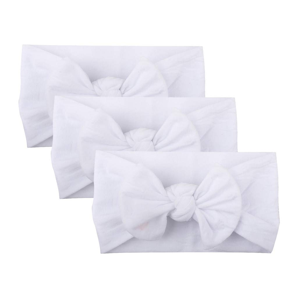 Bloodfin 3Pcs Newborn Cute Lovely Soft Cute Hat Bow Baby Girl Hospital Beanie Hat Soft Cotton Turban Headwrap Newborn Accessory Cap for 0-2 Years Baby Kids