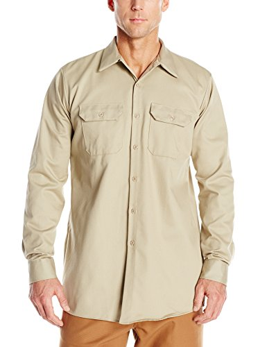 Deluxe Long Sleeve Shirt - Red Kap Men's Deluxe Heavyweight Cotton Shirt, Khaki, Medium