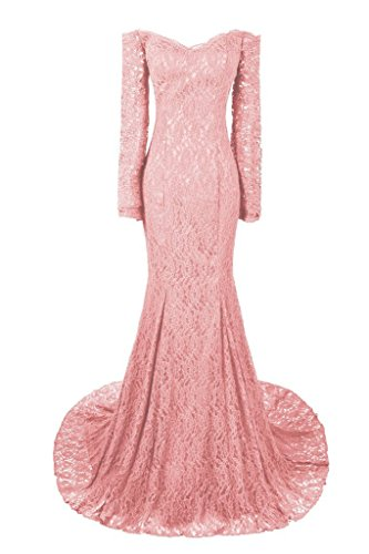 Dresstore Women's Long Mermaid Evening Dresses Sleeves Lace Prom Gowns Blush US 8