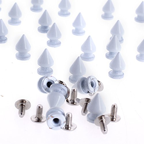 RUBYCA 12MM 100 Sets Metal Tree Spikes and Studs Metallic Screw-Back for DIY Punk Leather-craft White