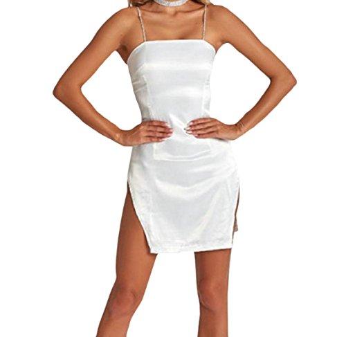 Coolred-femmes Backless Découpées Robe De Soirée De Fête À Fines Bretelles Solide Blanc