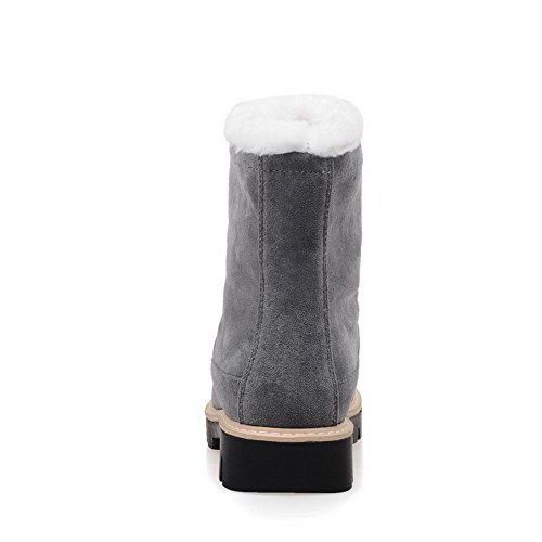 Pull Round Closed Heels Suede on Imitated Solid Boots Low Women's Gray AgooLar Toe 4wqFfzn