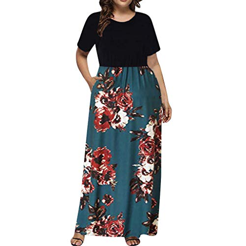 Sherostore ♡ Womens Long Sleeve Maxi Dress Round Neck Floral Print Casual Tunic Long Maxi Dresses Plus Size for Women
