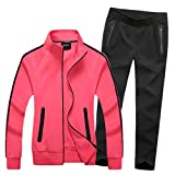 Modern Fantasy Women's Active Tracksuit Seamless Pocket Jogging Jacket & Pants Set Rose XL