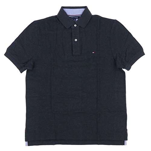 Tommy Hilfiger Mens Mesh Classic Fit Polo Shirt (X-Small, Charcoal Gray)