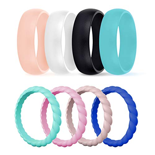 DSZ Silicone Wedding Ring for Women, Mixed Classic & Thin Rubber Band for Sports & Active Women's (Sandpink, Turquoise, Royal Black, White, Sandpink,Light Pink, Turquoise,Royal Blue, ()