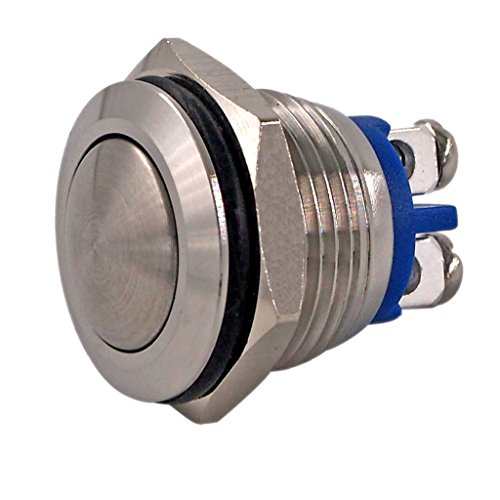 URTONE Momentary Push Button Switch, UR162, 1NO SPST DC 30V AC 220V 3A Stainless Steel Metal Shell Suitable for 16mm 5/8