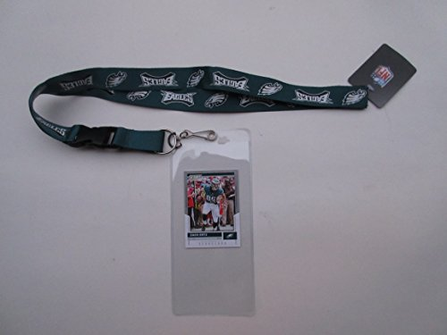 PHILADELPHIA EAGLES LANYARD WITH DETACHABLE CLIP AND TICKET HOLDER PLUS COLLECTIBLE PLAYER -