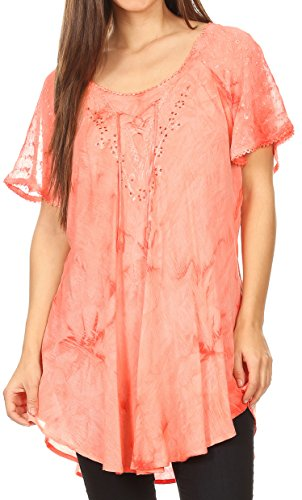 Sakkas 16483 - Hana Tie Dye Relaxed Fit Embroidery Cap Sleeves Peasant Batik Blouse/Top - Orange - OS