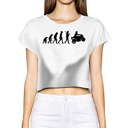Motorcycle Evolution Women's Crop Tops Summer Short Sleeve T-Shirt Tops Blouse White ()