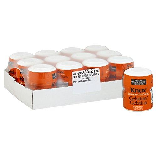 Knox Original Unflavored Gelatin Dessert Mix (16 oz Jugs, Pack of 12)