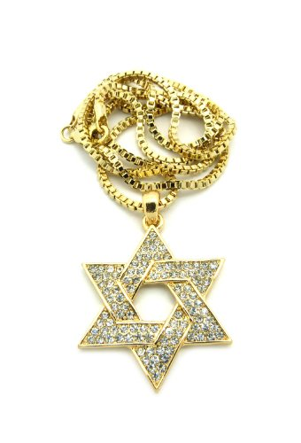(Crescendo SJ INC New Iced Out 6-Point Star Pendant &2mm/24 Box Chain Hip Hop Necklace XMP25BXG)