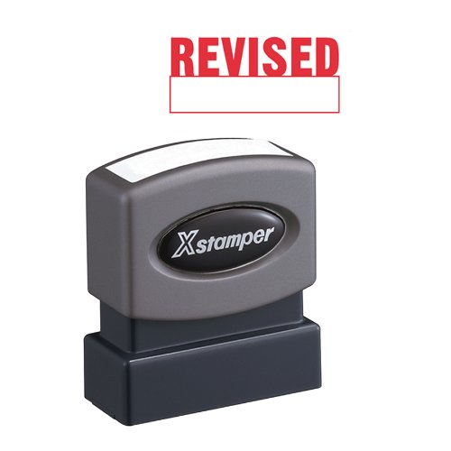 Xstamper One-Color Title Message Stamp, Revised, Pre-Inked/Re-Inkable, Red (1219)