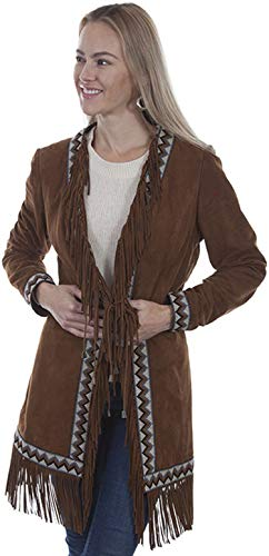(Scully Women's Leatherwear by Cinnamon Boar Suede Embroidered Band Coat Brown)