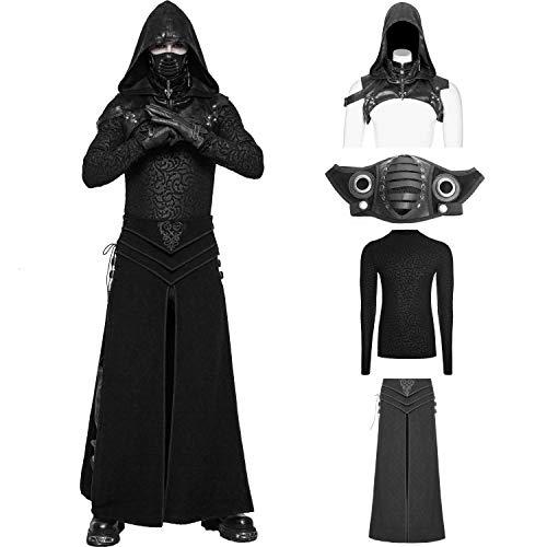 Punk Rave Men's Black Vintage Gothic Punk Assassin's Creed Mask Shirt Skirt Costume Suit (Medium) ()