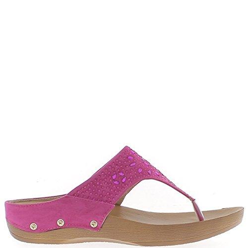Sandales plates fushias aspect daim et strass
