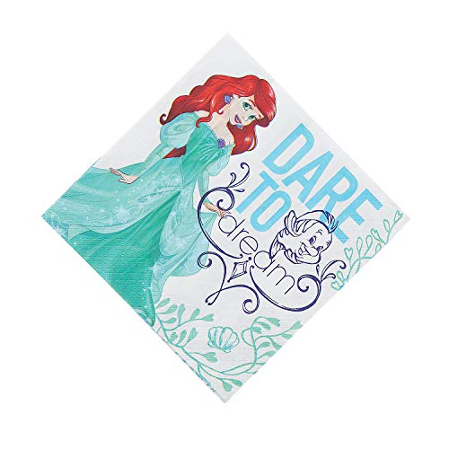 Fun Express - Little Mermaid Lunch Napkin (16pc) for Birthday - Party Supplies - Licensed Tableware - Licensed Napkins - Birthday - 16 ()