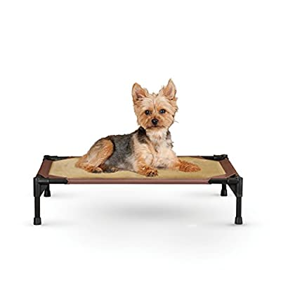 """K&H Pet Products Comfy Pet Cot Elevated Pet Bed Small Chocolate/Tan 17"""" x 22"""" x 7"""""""