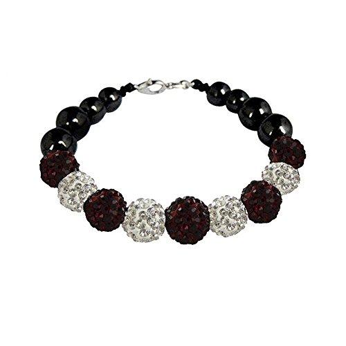 - Twinkle Shamballa Bracelet - Braided Beads Bangles - Ocean Waves Elven Crystal (Dark Red Color)
