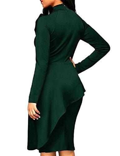 Verde Del Solido Bowknot Vita Balza Coolred Pacchetto donne Sottile Del Alta Vestito Dell'anca wxSYZgq7