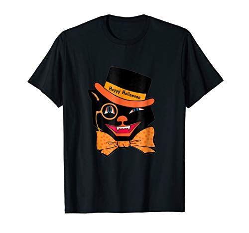 Vintage Halloween Scary Black Cat Funny Shirt