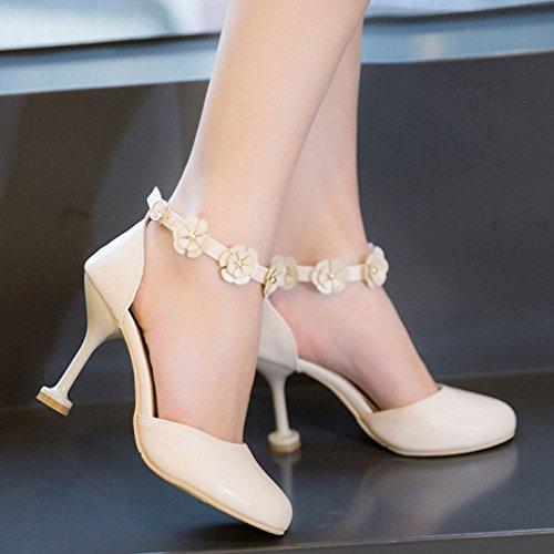 Beige Women Sandals High Strap Fashion Heel Ankle Party TAOFFEN Flower Buckle TnvPBqvpw
