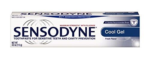 Sensodyne Dentifrice pour dents sensibles et la prévention de la cavité, Force maximale, Cool Gel, Tubes de 4 onces (Pack de 4)