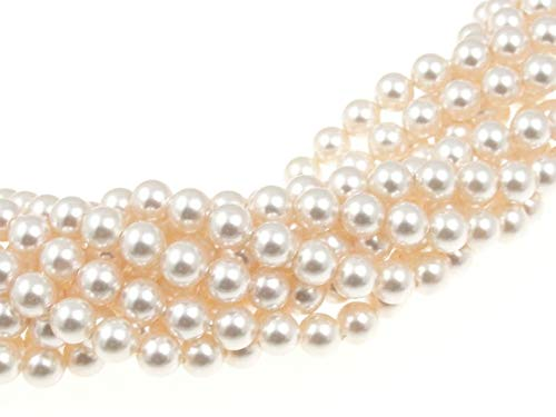 (100 Light Cream Rose Swarovski Crystal Pearls 6mm Round Beads (5810). 24 Inch Loose Strand)