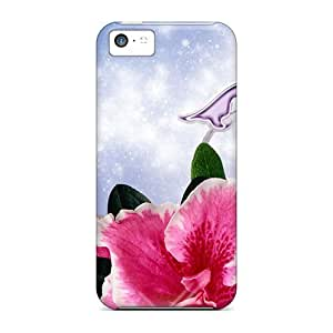 Awesome Orchids Bright Flip Case With Fashion Design For Iphone 5c