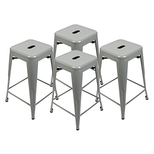 Set of 4-24'' Metal Stools High Backless Indoor-Outdoor Counter Height Stackable Bar Stools (Grey Barstool) by YOURLITE
