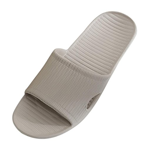 Women Men Slippers Daoroka Summer Striped Flat Bath Non-slip Sandals Simple Casual Comfort Beach Home Outdoor Shoes (US:7.5, Khaki) (Simple Comfort Slip)