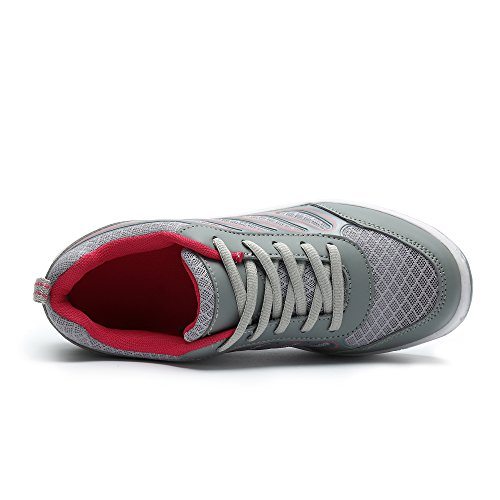 Mesh Fitness Toning Shoes Out Platform Slip red Lightweight Women's Walking gray On Bigcount Sneaker Work A5pqI