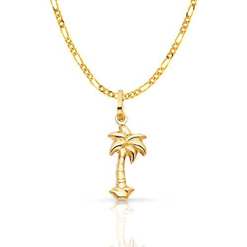 14K Yellow Gold Palm Tree Charm Pendant with 1.6mm Figaro 3+1 Chain Necklace - 20