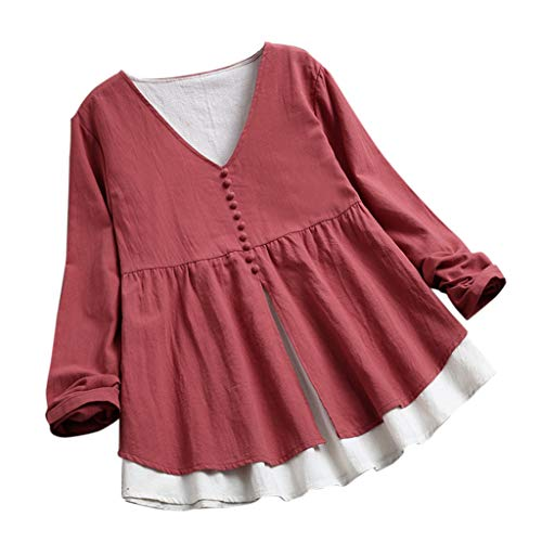 Price comparison product image BCDshop Womens Layered Long Sleeve Casual Loose Linen Button V-Neck Shirts Blouse Top(Watermelon Red, M)