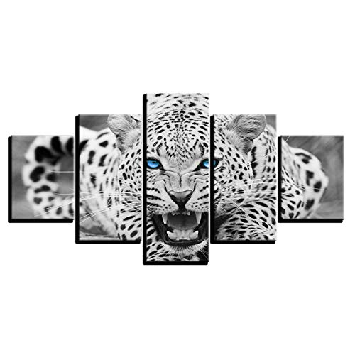 Print Wall Art Hd Prints Home Decor 5 Pieces Blue Eyes Leopard Tiger Paintings Black And White Animal Poster]()
