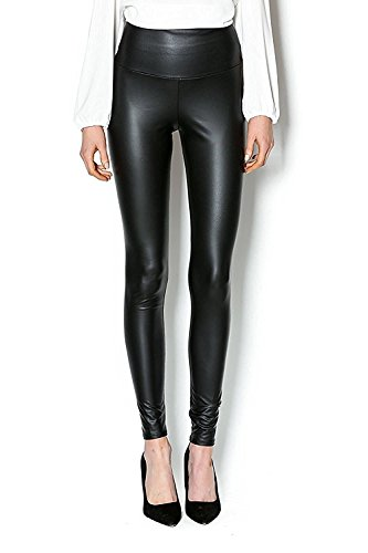 Ginasy Black Leather Like Leggings Pants, Stretchy High Waisted Tights For Women Girls (XL-1Pack, Leather Like Leggings) (Crop Roll Pant Waist)