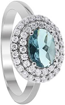 Gem Avenue 925 Sterling Silver Oval Aquamarine Color Cubic Zirconia Solitaire with Accents Ring