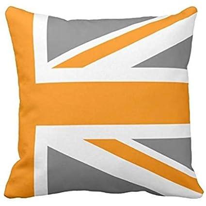 Amazon.com: Gray and Orange Union Jack Half Throw Pillow ...