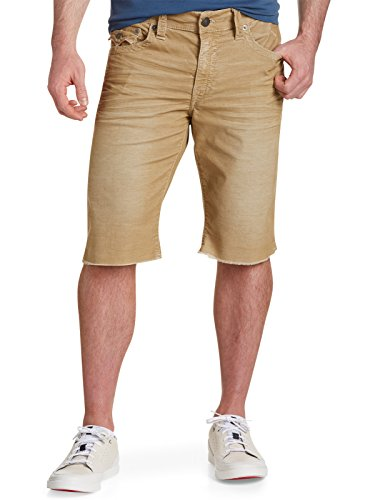 True Religion Big & Tall Ricky Relaxed Straight Corduroy Cut-Off Shorts (46, Straw) by True Religion