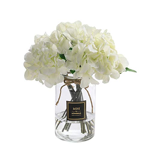 Veryhome Hydrangea Artificial Silk Fake Flower Bunch Bouquet Arrangements For Home Wedding Garden Floral Decor Pack Of One (White)