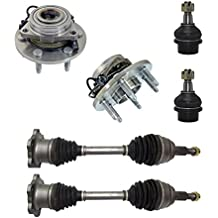 6-Piece Front Suspension Kit - Both (2) CV Joint Axle Drive Shafts, Both (2) Front Wheel Hub & Bearings, Both (2) Front Lower Ball Joints Fit Steel Control Arms Only - Torsion Bar Suspension Only