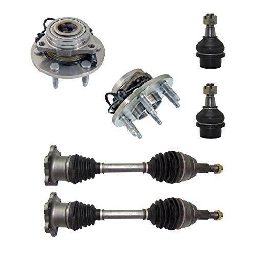 6-Piece Front Suspension Kit - Both (2) CV Joint Axle Drive Shafts, Both (2) Front Wheel Hub & Bearings, Both (2) Front Lower Ball Joints Fit Steel Control Arms Only - Torsion Bar Suspension Only (Shaft Front Bearing)