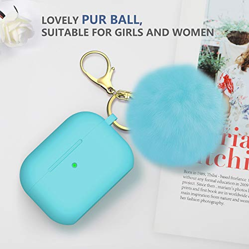 BRG for Airpods Pro Case Cover, Soft Silicone Case Cover with Cute Pom Pom Fur Ball Keychain for Women Girls [Front LED Visible] Turquoise
