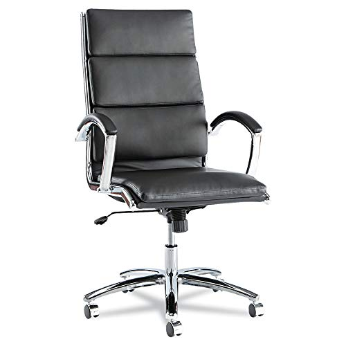 Alera ALENR4119 Neratoli Series High-Back Swivel/Tilt Chair, Black Leather, Chrome ()